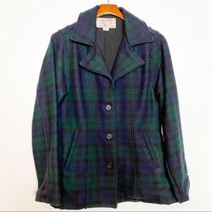 Filson Plaid Wool Pea Coat Style Blue Green Navy